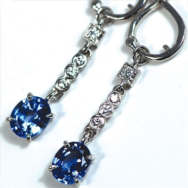 Blue Sapphire and Diamond Chain Earrings by Wendy Walker