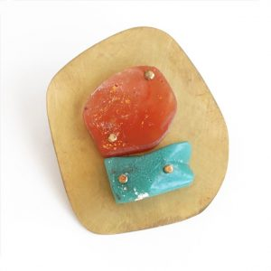 """I Might"" Orange and Turquoise Resin Brooch by Maru López"