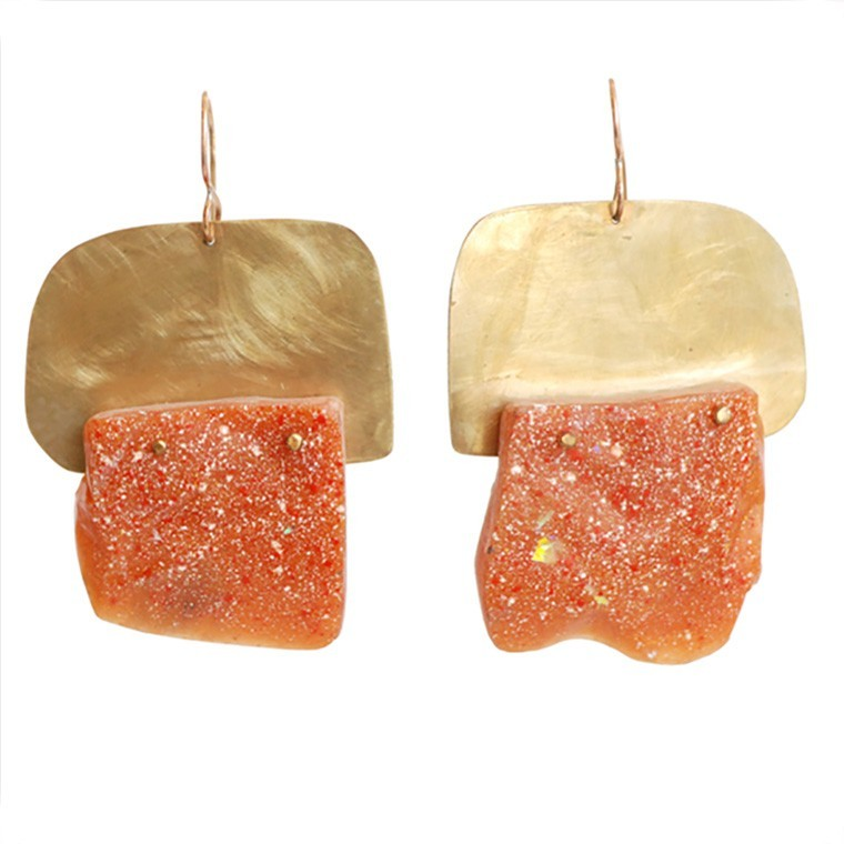 """Popsicle and Hot Cement"" Orange Resin Earrings by Maru López"