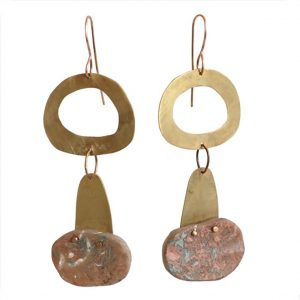 """Spin Me Around"" Taupe Resin Earrings by Maru López"