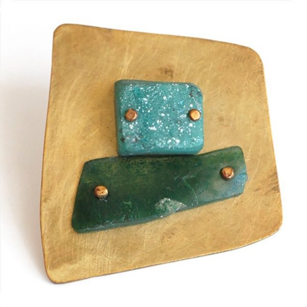 """""""Thru the Times"""" Turquoise and Green Resin Brooch by Maru López"""