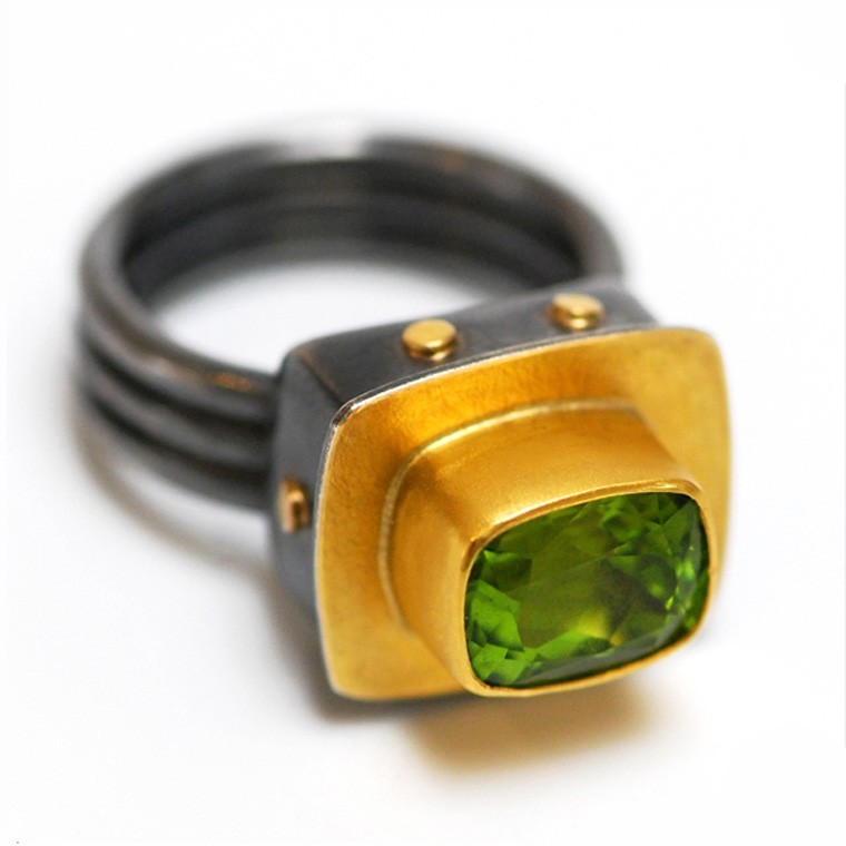 Faceted Peridot Ring by Sydney Lynch