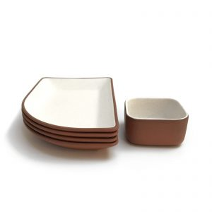five piece white matte clay dish set