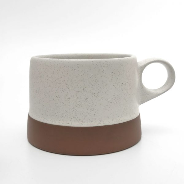 clay white low cup mug